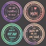 Satz von vier Logos für Mutter-Tag Stockfotos