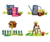 Satz von vier lokalisierte Szenen mit Gartenarbeitwerkzeugen - übergeben Sie gezogenes Aquarell lizenzfreie abbildung