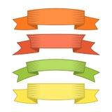 Satz von vier Mehrfarbenbändern und von Fahnen für Webdesign Stockbilder