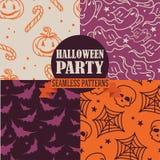 Satz von vier nahtlosen Beschaffenheiten für Halloween Lizenzfreies Stockfoto