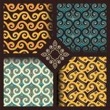 Satz von vier nahtlosen Mustern in der indonesischen oder arabischen Art Stockbild