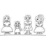 Satz von vier nette grafische Hand gezeichneten Mädchen stock abbildung