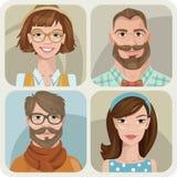 Satz von vier Porträts von Hippies. Lizenzfreies Stockfoto