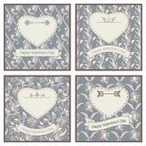 Satz von vier Postkarten für St. Valentine Day Lizenzfreie Stockfotografie