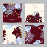 Satz von vier quadratischen künstlerischen kreativen Universalkarten Stockbild