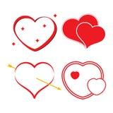 Satz von vier roten Herzen Lizenzfreie Stockbilder