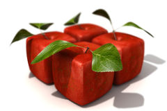 Satz von vier roten Kubikäpfeln verwischt Stockfotos