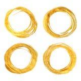 Satz von vier rundes Goldstrukturierten Rahmen Stockbilder