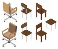 Satz von vier Stühlen isometrisch Stockfotografie