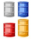 Satz von vier Stahlfarbfässern vector die Illustration, die auf weißem Hintergrund lokalisiert wird Stockfotos