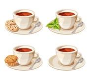 Satz von vier Tassen Tee Auch im corel abgehobenen Betrag Lizenzfreie Stockbilder