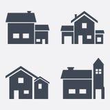 Satz von vier Vektorhäusern Stockfotografie