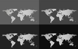 Satz von vier Vektorweltkarten lokalisiert auf einem Grayscalehintergrund Stockfotos