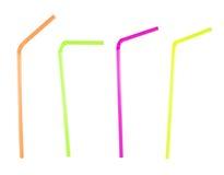 Satz von vier verbog Trinkhalme über weißem Hintergrund Stockfotografie