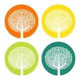 Satz von vier weißen Bäumen mit Blättern auf buntem rundem Hintergrund Stockbilder