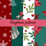 Satz von vier Weihnachtsmustern Nahtloses Muster der frohen Weihnachten Handdraw Vektor stock abbildung