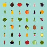 Satz von vierzig Farbflachen Obst- und Gemüse -ikonen Lizenzfreie Stockbilder