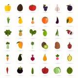 Satz von vierzig Farbflachen Obst- und Gemüse -ikonen Stockfotografie
