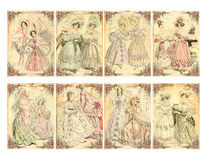 Satz von 8 viktorianischen Ära-Damenmode-Platten-Karten stock abbildung