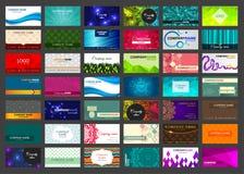 Satz von 42 Visitenkarten auf verschiedenen Themen Stockbild