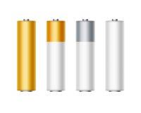 Satz von weißem goldenem gelbem silbernem Gray Batteries Lizenzfreie Stockfotos