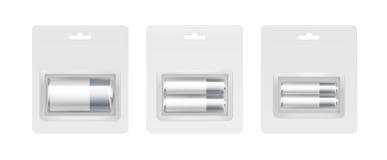 Satz von weißem Gray Silver Alkaline Batteries Lizenzfreie Stockbilder