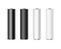 Satz von weißem schwarzem metallischem Matt Glossy Batteries Stockfotos