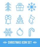 Satz von 9 Weihnachtsentwurfsikonen Stockfoto