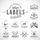 Satz von Weinlese-Ikonen, Aufklebern oder Logo Templates With Retro Typography für die Hobbys der Männer wie Segelsport, Jagd, Ar lizenzfreie abbildung