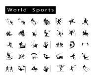 Satz von 35 Weltsport-Ikonen Stockfotografie