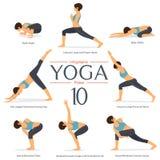Satz von 8 Yogahaltungen im flachen Design Frau stellt Übung in der blauen Sportkleidung und in der schwarzen Yogahose für Yoga i stock abbildung