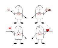 Satz von 4 Zahlen Kellner 4 Kellner - 4 Arten Lebensmittel Zahl Kellner im Stil der satirischen Comics Lizenzfreies Stockbild
