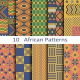 Satz von zehn afrikanischen Mustern Lizenzfreie Stockfotos
