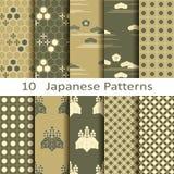 Satz von zehn japanischen Mustern Lizenzfreie Stockbilder