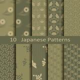 Satz von zehn japanischen Mustern Stockfotos