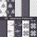 Satz von zehn japanischen Mustern Stockbild