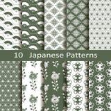 Satz von zehn japanischen Mustern Lizenzfreies Stockfoto