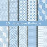 Satz von zehn japanischen Mustern Stockfoto