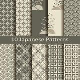 Satz von zehn japanischen Mustern Lizenzfreie Stockfotos