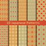 Satz von zehn japanischen Mustern Stockbilder