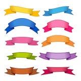 Satz von zehn Mehrfarbenbändern und von Fahnen für Webdesign Lizenzfreies Stockfoto