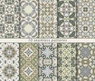 Satz von zehn nahtlosen abstrakten Mustern Stockfoto
