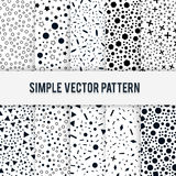 Satz von zehn nahtlosen einfachen chaotischen Formen Muster auf einem weißen Hintergrund Stockbild