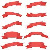Satz von zehn roten Bändern und von Fahnen für Webdesign Stockfotos