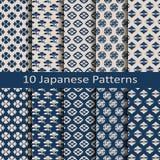 Satz von zehn traditionellen japanischen Mustern des nahtlosen Vektors Lizenzfreie Stockbilder