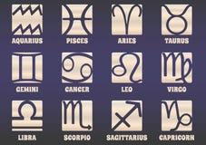 Satz von zwölf Horoskopsternzeichen Lizenzfreie Stockfotos