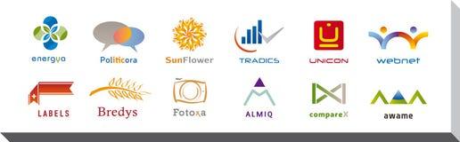 Satz von zwölf Ikonen und von Logo Designs - mehrfache Farben und Elemente Lizenzfreie Stockfotografie