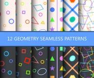 Satz von zwölf nahtlosen Mustern der Geometrie Stockbilder