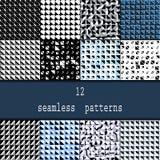 Satz von zwölf nahtlosen Mustern Nahtlose stilvolle moderne geometrische Hintergründe mit Wiederholung von Dreiecken mit gerundet Lizenzfreies Stockfoto