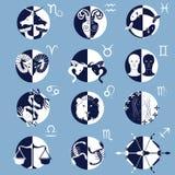 Satz von zwölf Tierkreis-Horoskop-Zeichen und Symbolen Stockfotografie